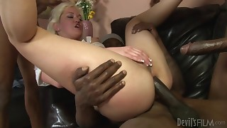Blonde stripper gets her ass gangbanged by big black cocks