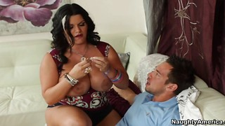 Sexy latina with huge tits rides a big cock