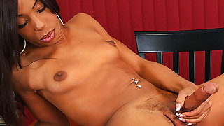 TS Booty Babe Asia Strokes Her Cock