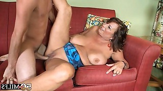 Hot student fucks busty old mature slut on sofa..