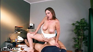 50 year old milf doing cool titjob and later on she jumps on man tool like real cowgirl