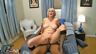 Porn hungry mature sucking and fucking lucky black dude in interracial hardcore action