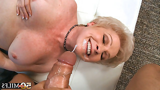 Latino macho fucks blonde mature in mouth and after he drills her shaved wet cunt