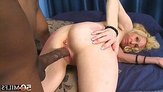 Hot 50 year old milf swallows black dick later ebony man fucks her from behind
