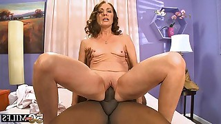 50 yo brunette mature sucks dark dick later on..