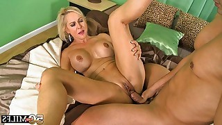 Busty and pretty blonde mature has missionary..