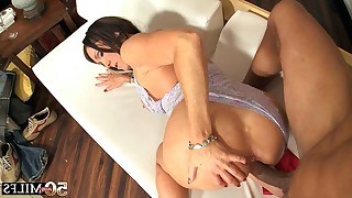 Busty brunette mature takes cock before hot man fucks her pussy in doggystyle