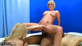 Ebony guy and two blonde matures in interracial..