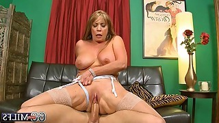Mature with big tits swallows yummy dick and later she jumps on it like a hot cowgirl