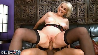 60 yo plus granny with shaved pussy and in black..