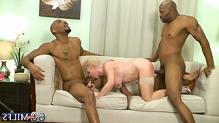 Happy 60 yo plus granny gets double penetration from both ends by two dark lovers