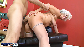 Granny sucks mans tool later on guy fucks her from behind on sofa till cumshot