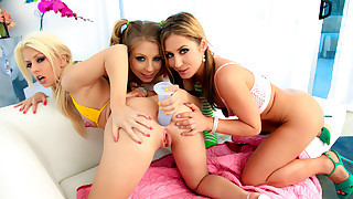 3 girls playing with dildo, sticking it in each..