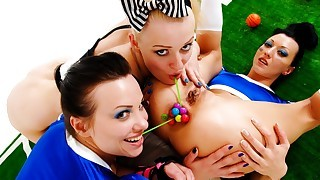 Lesbians! Gigantic Toys Are Going All Inside A Nasty Girl!