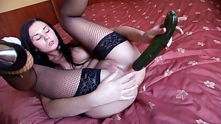 Anal Party! Sexy Teen Feeds Her Hot Asshole A Big Cucumber!