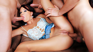 Girl Involved In A Gang Bang! Her Ass & Mouth Fucked 4 Good