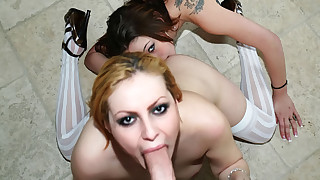 2 young hot sluts eat pussy and suck cock deep..