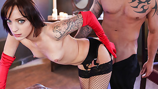 Tattooed chick eat inked cock and takes it deep..