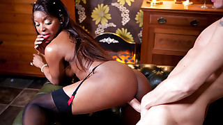 Sexy ebony beauty gets a mouthfull of cock then..