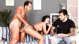 Gina is pissed and makes her boyfriend watch her get fucked.