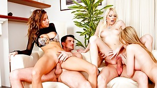 3 horny girls split from the group to please 2..