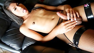Cute ladyboy enjoys stroking her cock until it..