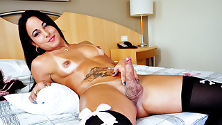 Hot Curved Tranny Masturbating His Hard Dick 4..