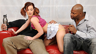 Super cute teen gets her tight pussy pounded by 2 black men!