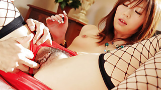 Fishnet stockings make hairy pussy Arisa is a..