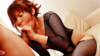 Reina Sakai  in black fishnets with her horny..