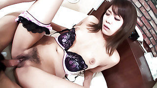 Purple and black clad Yuu Sakura fucked doggie..