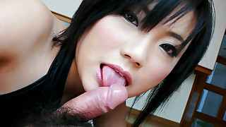 Raunchy Haruna Katou finds her pretty face stuffed with a hard dick and she deep throats that big..