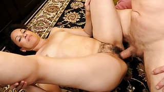Hot brunette MILF gets her hairy cunt pounded..