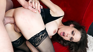 Beautiful big boobed MILF gets fucked in both her holes !