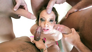 Maddy deep throats 5 guys cocks in hot gang bang.