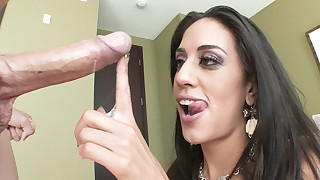 Lyla Storm nearly drowns on a sea of cum after..