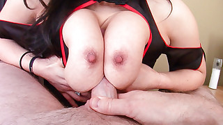 Big breasted Asian enjoy being deep throated by..