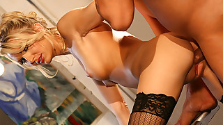 Very hot blonde enjoys being fucked hardcore in her kitchen!