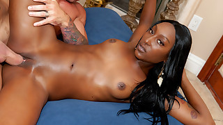 Chanel Bryant fucks and sucks a hard cock for the first time on camera