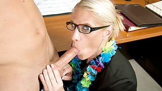 Blonde teacher takes her students cock after class
