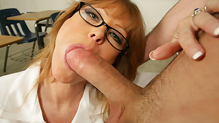 Busty redhead teacher Darla Crane has hot sex on..