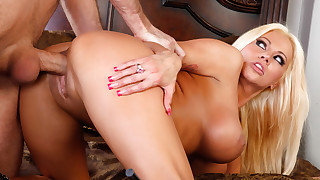 Hot blonde MILF Nikita Von James swallows cock..
