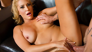 Hot busty blonde MILF fucks her son's friend and..