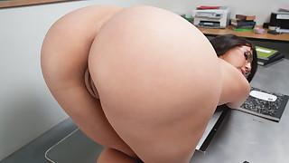 Brunette school girl with a big ass has sex with her teacher to pass