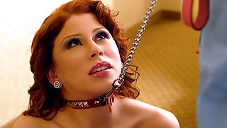 Gorgeous redhead meets her client and has to be a slave for big cocked horny client