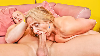 Candy's old pussy takes a beating from a younger..