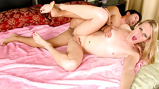 Gorgeous blond babes are busy getting pleasured in their pussy
