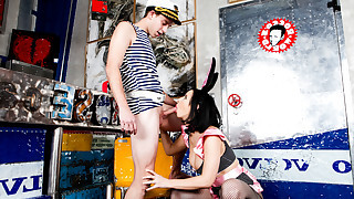 Chick in bunny uniform blows some guy and toys her pussy.