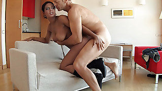 Rocco goes wild for an exotic girl with huge natural boobs!
