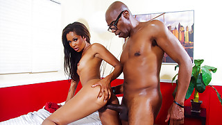 horny ebony babe gets to suck and fuck his huge..